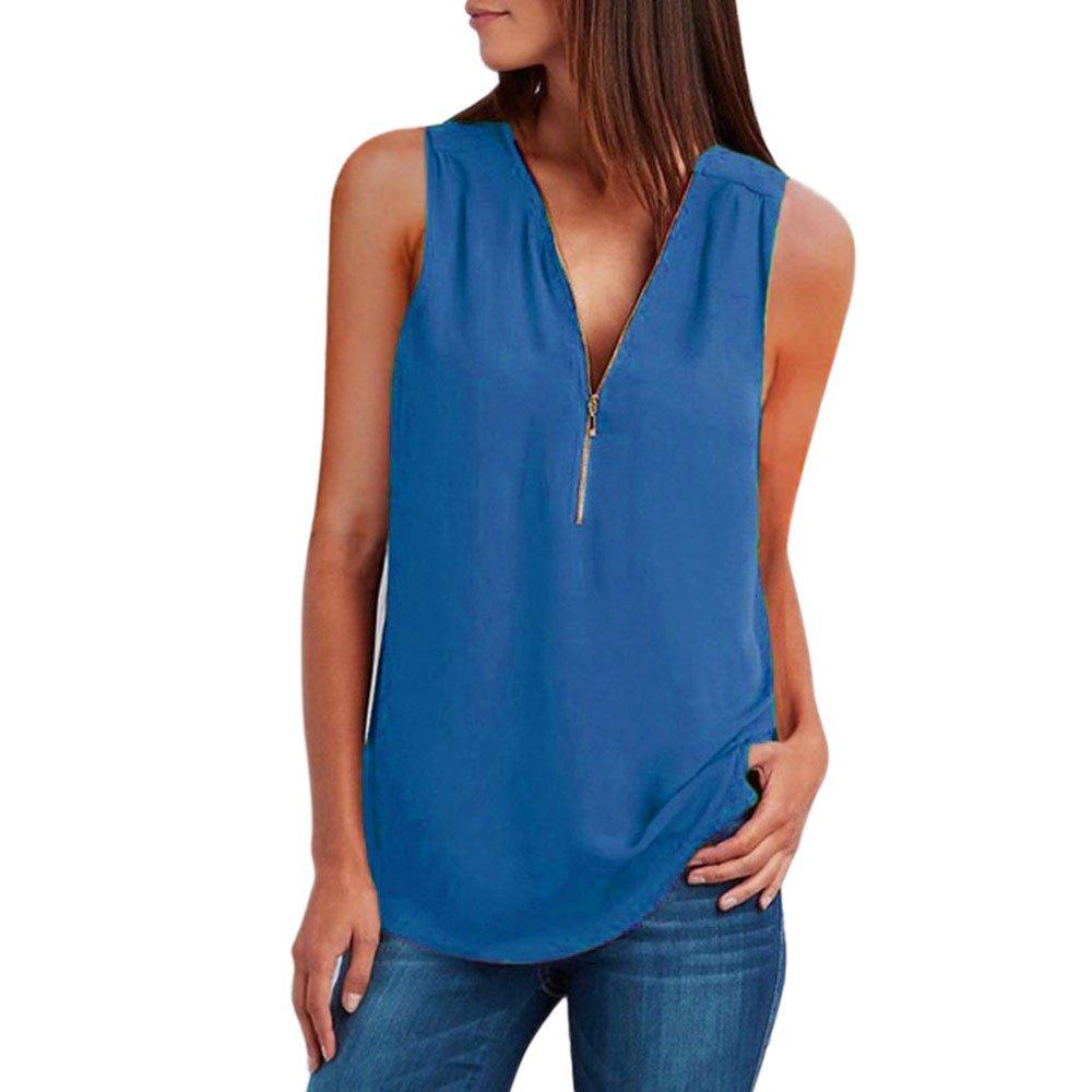 Xavigio_Women Tops and Blouses Women's Sexy V-Neck Sleeveless Zipper Camis Loose Tank Tops T-Shirts Blue