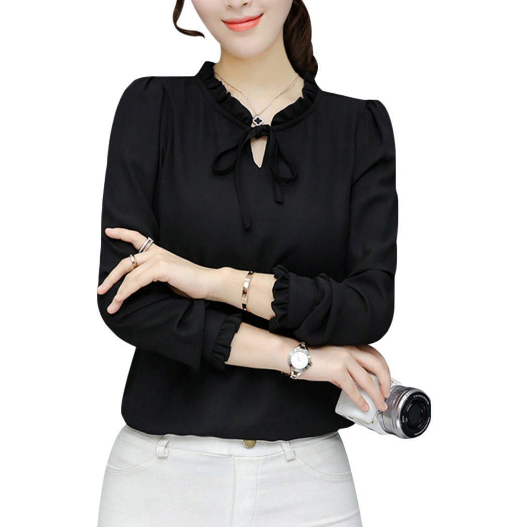 b56a752d01 Stand Collar with Tie Bow Neck, Long Sleeve, Solid Color Elegant Blouse You  can Look Stylish and Feel Comfortable while ...