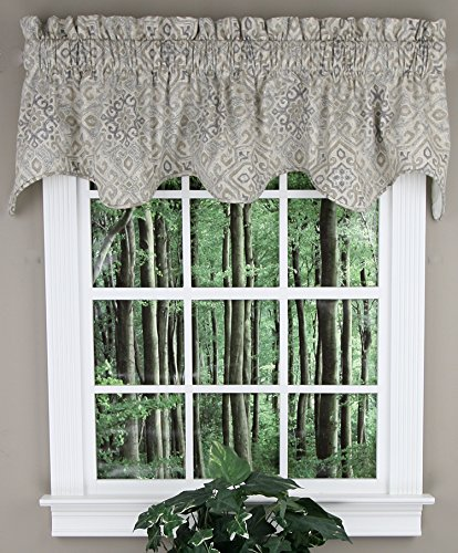 Paw Print Medallion (Ellis Curtain Miramar Medallion Tile Print 100-Percent Cotton Twill (Lined Scallop Valance, 70 x 17