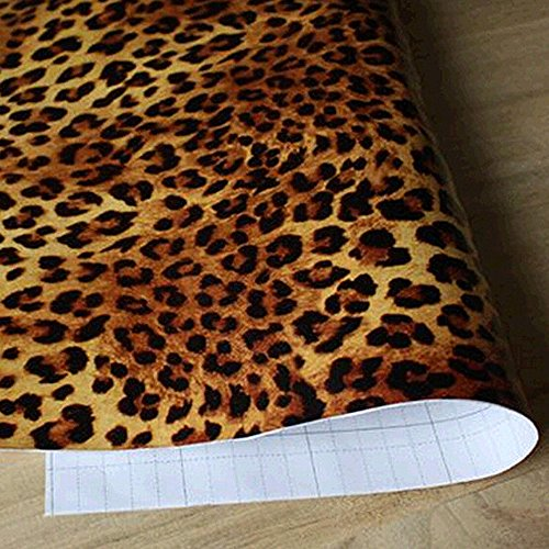 yazi Sexy Leopard Print Self-Adhesive Removable PVC Wall Sticker Shelf Drawer Liner (Overlap Print Liner)