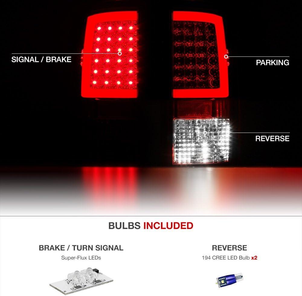 Driver /& Passenger Side Factory Incandescent Model VIPMOTOZ OLED Neon Tube Tail Light Lamp For 2009-2018 Dodge RAM 1500 2500 3500 - - Rosso Red Lens