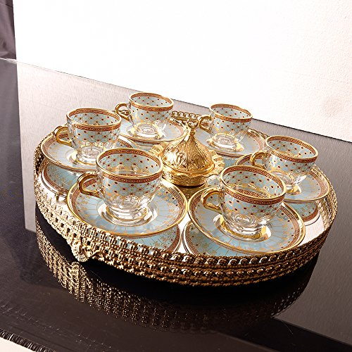 Authentic Design Turkish Coffee Cups Set For Six Person With Mirror Tray by Fairturk