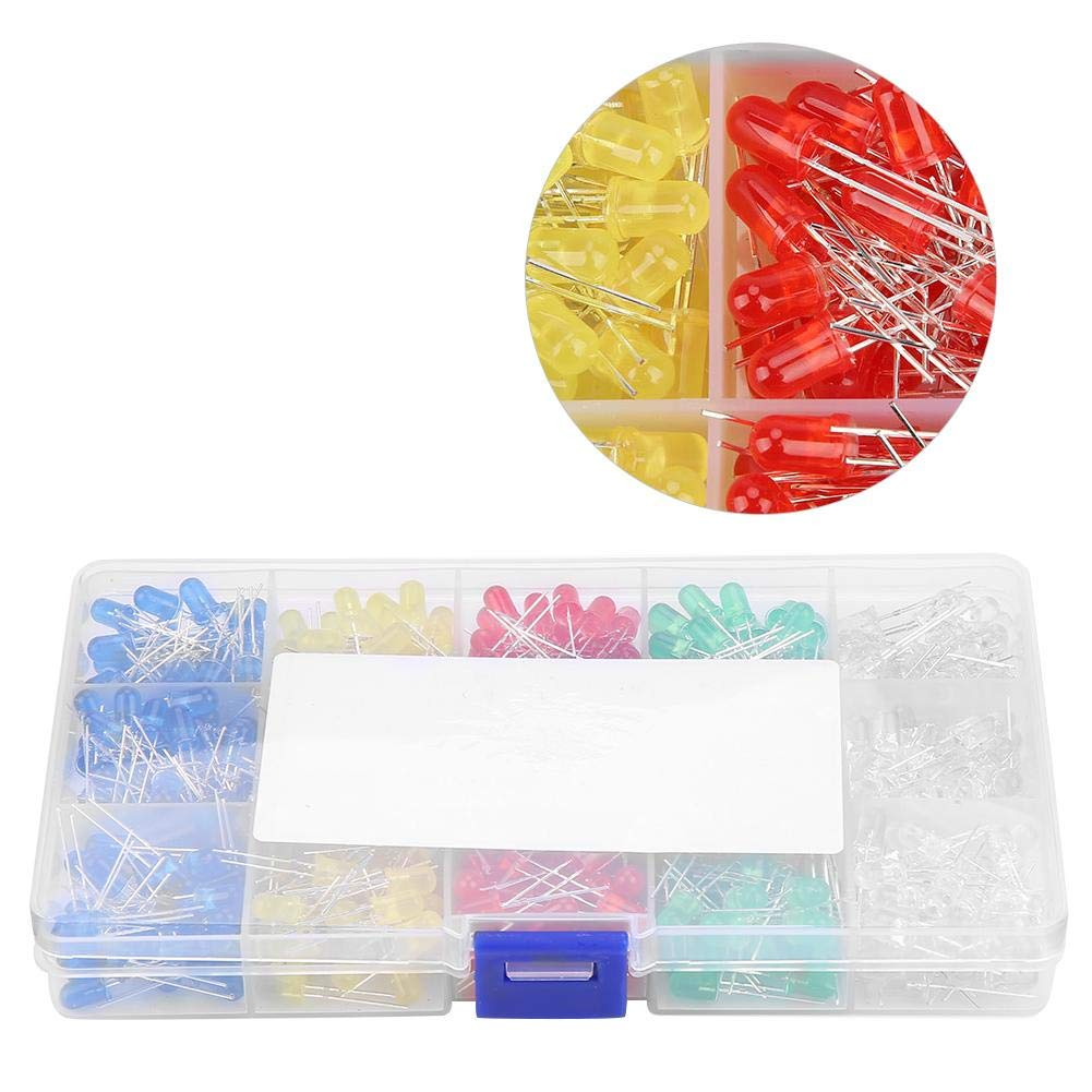 500pcs 5mm LED Light Diodes 45mA 1W Red Yellow Blue Green White Assortment Kit