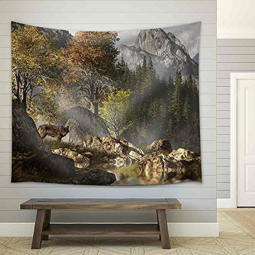 Wolf Near a Lake in a Rocky Mountain Landscape Fabric Wall