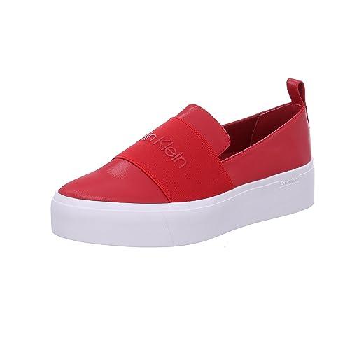 Calvin Klein Mocasines de Material Sintético Para Mujer, Color Rojo, Talla 37 EU: Amazon.es: Zapatos y complementos