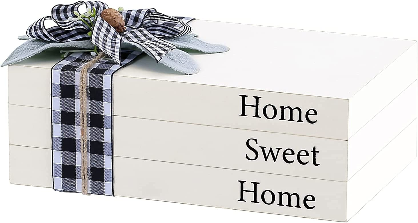 Airrioal Farmhouse Stacked Book Decor,Wooden Decorative White Books-Home Sweet Home Modern Farmhouse Coffee Table Decor,Boho Bookshelf Entry Way Tiered Trays Decorations for Living Room Home,Set of 3