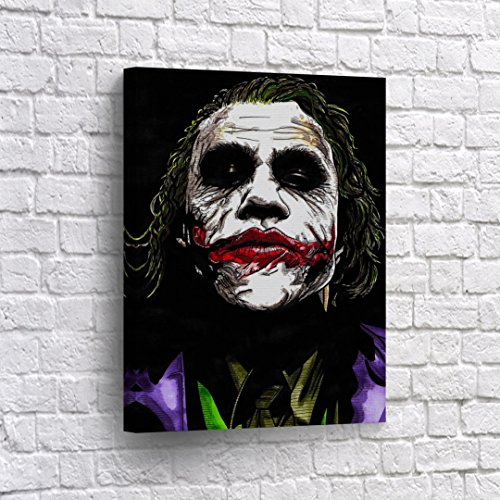 The Joker Heath Ledger Drawing Vector Paint Canvas Print Wall Art Decorative Home Decor Poster Artwork Framed and Stretched- Ready to Hang -%100 Handmade in The USA - 36x24