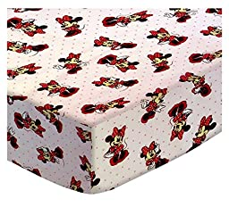 SheetWorld Fitted Pack N Play (Graco Square Playard) Sheet - Minnie Mouse Pink - Made In USA