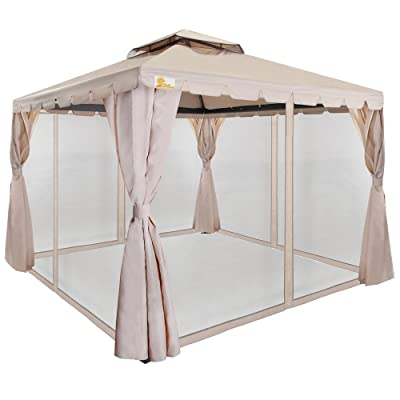 Palm Springs 10ft x 10ft Deluxe Gazebo/Party Tent w/Mosquito Mesh Sides: Sports & Outdoors