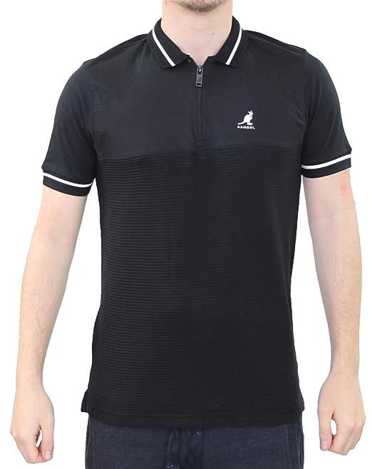 Kangol Hombre diseñador Zip Polo Rayas patrón 100% algodón Verano ...