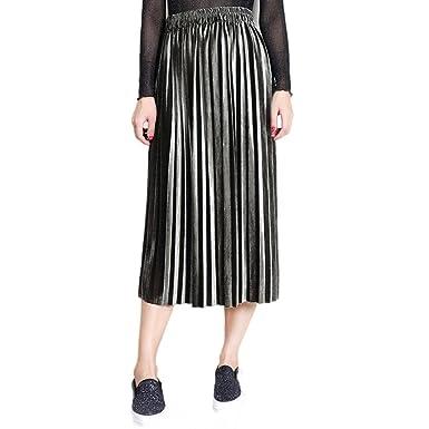 ff7b78a598a0cd Kanpola Womens Pleated Skirt, High-Waist Gold Velvet New Fashion Knee-Length  Skirt: Amazon.co.uk: Clothing
