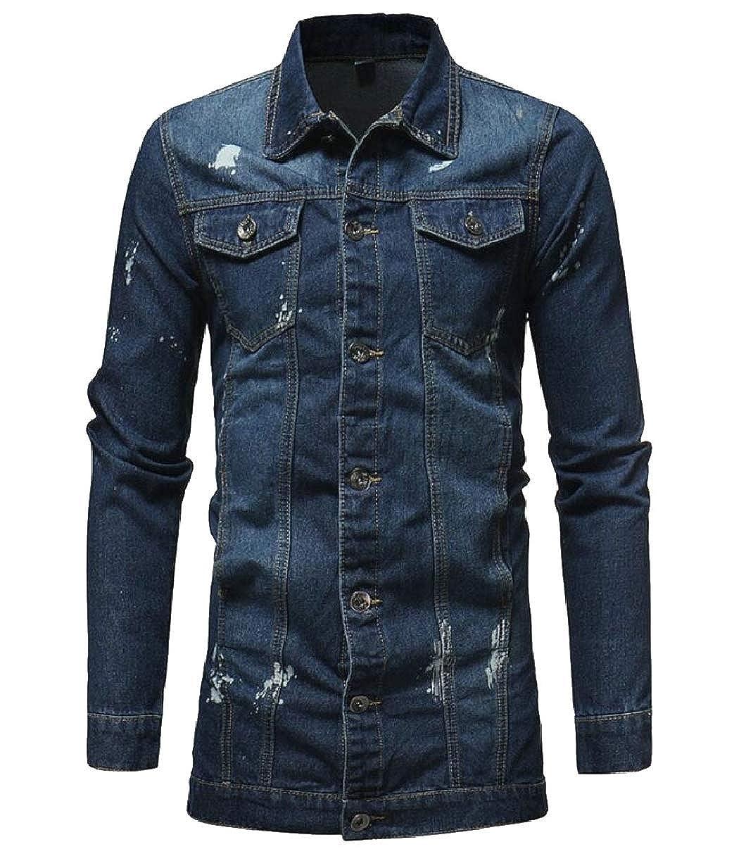7d34d62fc79e57 Dark blueee LEISHOP LEISHOP LEISHOP Men Fashion Slim Button Front Faded  Washed Jean Denim Jacket Coat e5786e