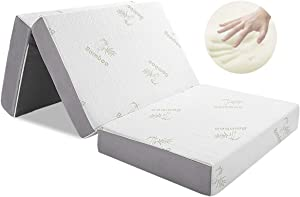 Folding Mattress, Inofia Memory Foam Tri-fold Mattress with Ultra Soft Bamboo Cover, Non-Slip Bottom & Breathable Mesh Sides - Twin 4-Inch