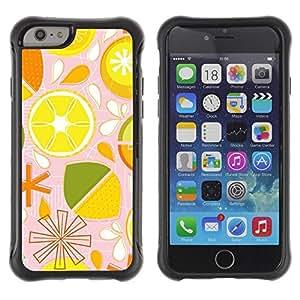 Suave TPU Caso Carcasa de Caucho Funda para Apple Iphone 6 / Lime Lemon Citrus Pattern Stylized / STRONG