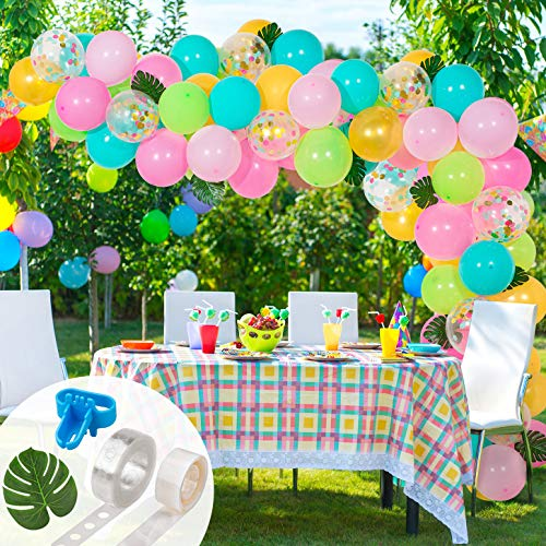 (Whaline Tropical Hawaii Balloon Arch Garland Kit, Multicolor Latex and Confetti Balloons Set with 10 Palm Leaves, 16ft Balloon Strip Tape, 1pcs Tying Tool and 100 Dot Glue for Wedding Birthday Party )