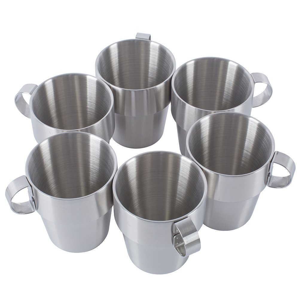 Coffee Cup Stainless Steel Double Wall Coffee Mugs/Tea Cups 10-Ounce with Handle,Set of 6
