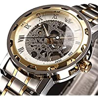 Watches,Men's Skeleton Mechnical Classic Hand-wind Movement Analog Display Watch With Link Bracelet (WhiteGold)