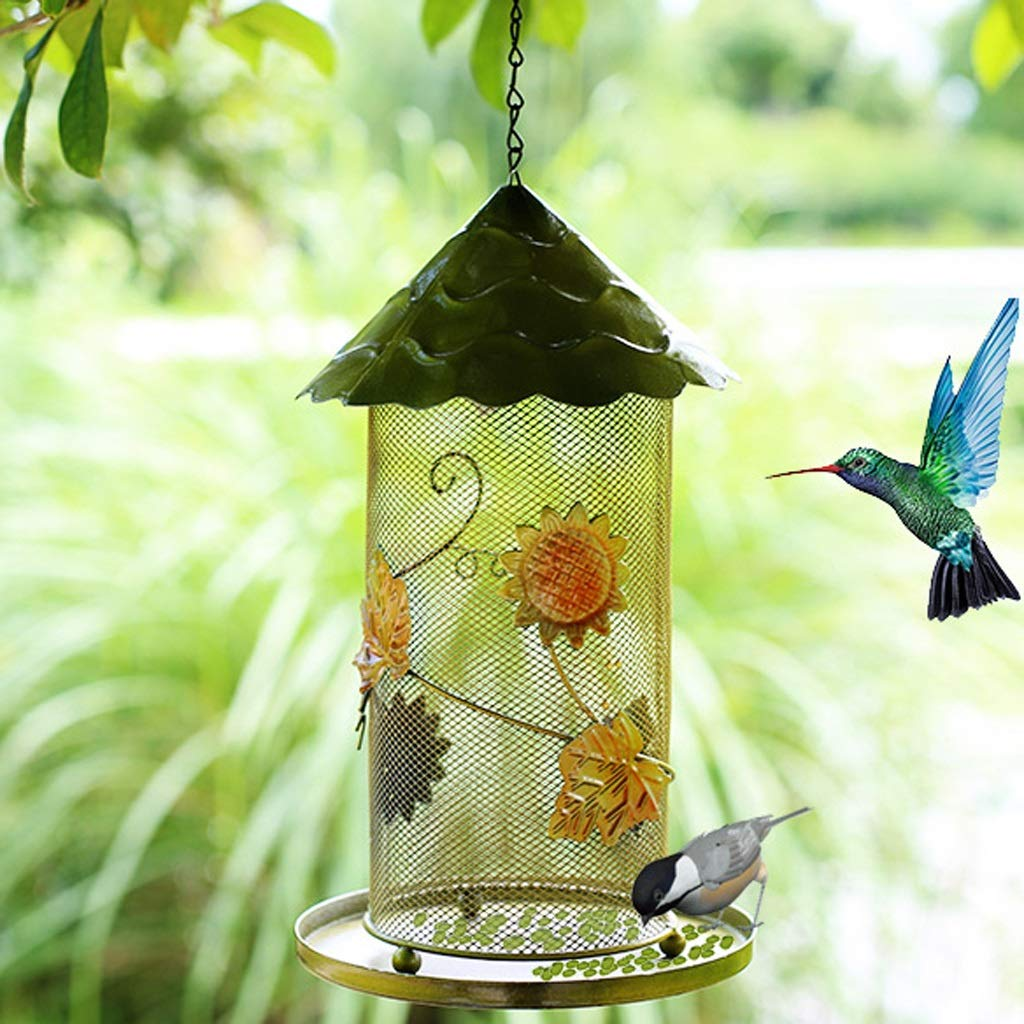 Green GLJJQMY Outdoor Metal Covered Bird Feeder Hanging Bird Food Cup Firm Hook Stable Chassis Design (color   Green)