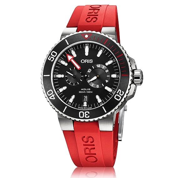 Oris Aquis hombre Regulateur Der meistertaucher Titanio Automático Negro Dial adicionales rojo correa de reloj –