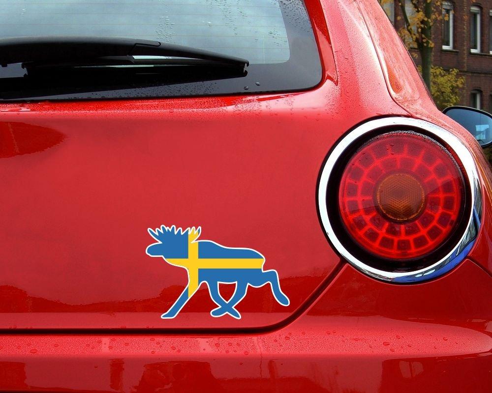 Samunshi elch aufkleber elchhirsche schweden flagge nationalfarben in 8 größen 10x65cm amazon de küche haushalt