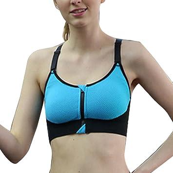Sujetador Deportivo Gimnasio Sin Aros Para Mujer Yoga Almohadillas Extraíbles Sujetador Frontal Cremallera Azul S