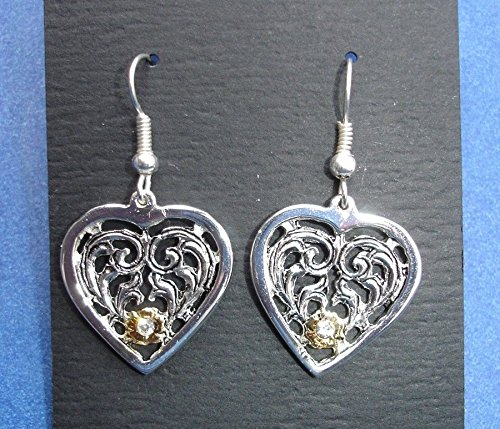 Western Cowgirl Jewelry Antique Silver Heart Crystal French Wire Earrings