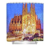 Pixels Shower Curtain (74'' x 71'') ''Sagrada Familia At Night''