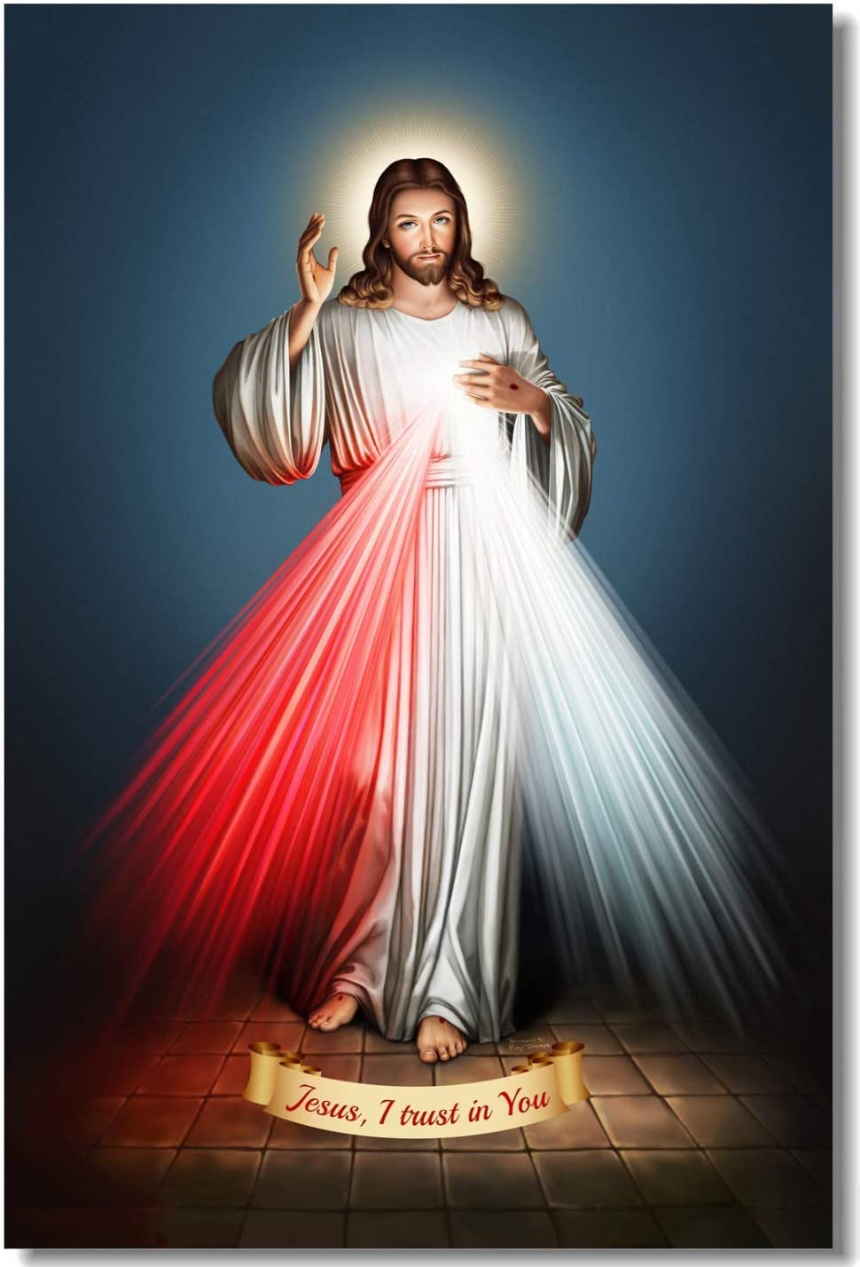 Pintura de la pared Divina Misericordia de Jesús Cartel