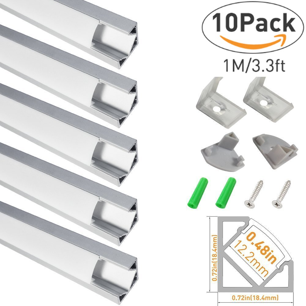 LightingWill 10-Pack V-Shape LED Aluminum Channel 3.3ft/1M Anodized Silver Flush Corner Mount for <12mm width SMD3528 5050 LED Strips with Milky White Cover, End Caps and Mounting Clips V03S10