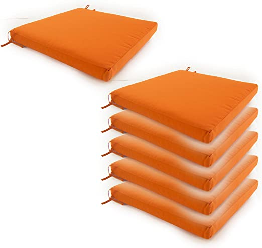 Edenjardi Pack 6 Cojines para sillas de jardín Color Naranja   Tamaño 44x44x5 cm   Repelente al Agua   Desenfundable   Portes Gratis: Amazon.es: Hogar