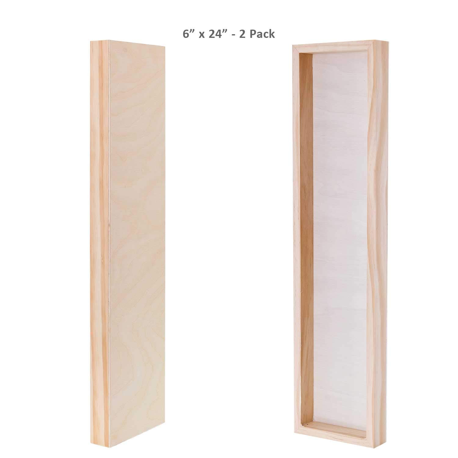 Oil U.S Art Supply 6 x 24 Birch Wood Paint Pouring Panel Boards Acrylic Painting Mixed-Media Craft - Artist Depth Wooden Wall Canvases Encaustic Pack of 2 Gallery 1-1//2 Deep Cradle