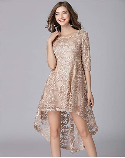 Vestido Talla Extra Vestido De Noche Cordón Primavera Y