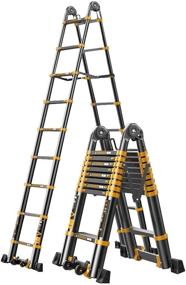 Erru Escalera Telescópica Escalera Telescópica Retráctil Tipo Loft con Ruedas Auxiliares, Escaleras Extensibles de Aluminio para Trabajo Pesado para Ingeniería Doméstica, Amarillo: Amazon.es: Hogar
