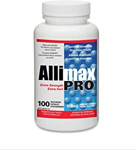 Allimax Pro 450mg 100 Vegicaps. Professional Strength Support for Your Body's Immune Function Through Natural Allicin, a Potent Compound Extracted from Clean and Sustainable Spanish Grown Garlic.