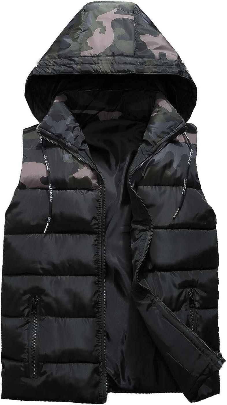 CYSTYLE Herren Jungen M/ädchen Camouflage Tarnung Daunenweste ultraleichte Winterjacke Weste /Ärmellos mit Kapuze