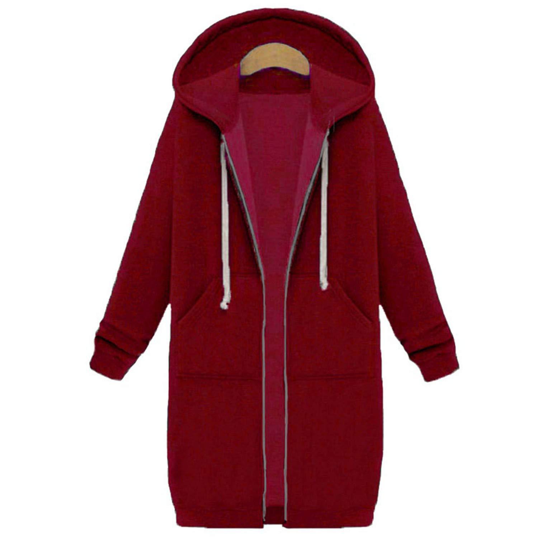 Long Hooded Coat Women Oversized Slim Sweatshirts Coat Pocket Zipper Outerwear Woodrow Nora