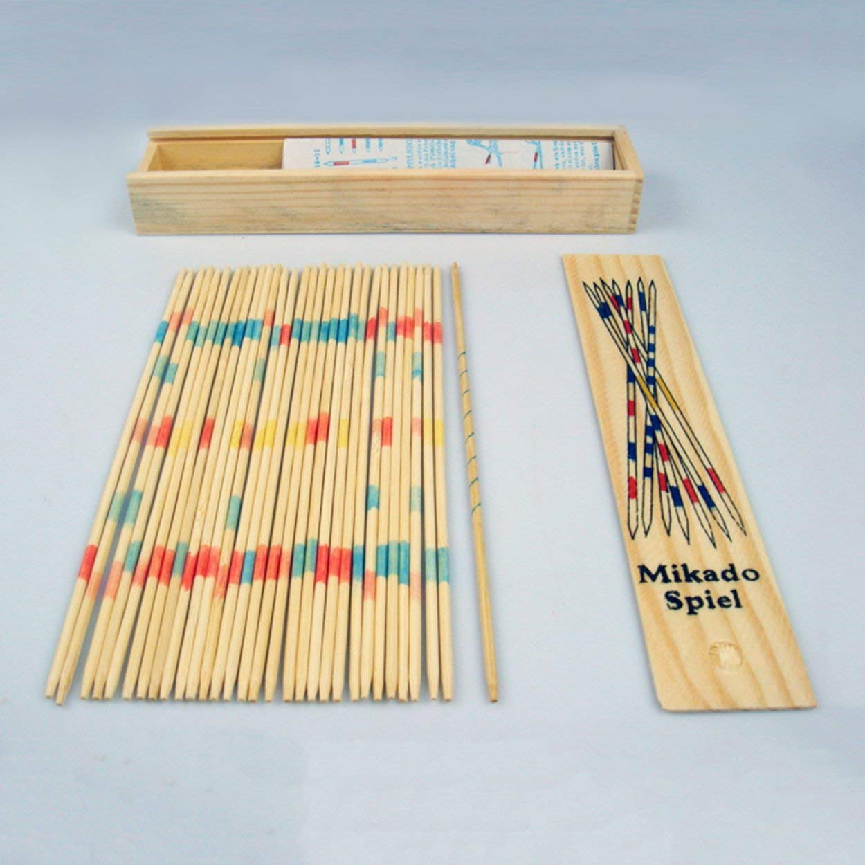 anyilon Baby Educational Wooden Traditional Mikado Spiel Pick Up Sticks Tool with Box Game Developing Math Ability