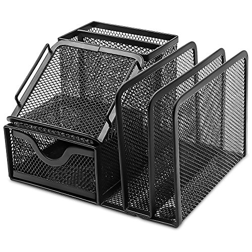 Plemo Mesh Desk Organizer Office Supplies Caddy with 6 Compartments: Drawer, Pen Holder, Memo Holder & File Holder, 6.42