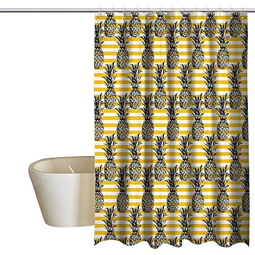 EwaskyOnline Pineapple Decor Collection Funny Shower Curtain Pineapple Pattern Shape Background Stripes Textile Plant Coconut Design Non Toxic Shower Curtain W72 x L72 Yellow White Black (Collection Northwoods Stripe)