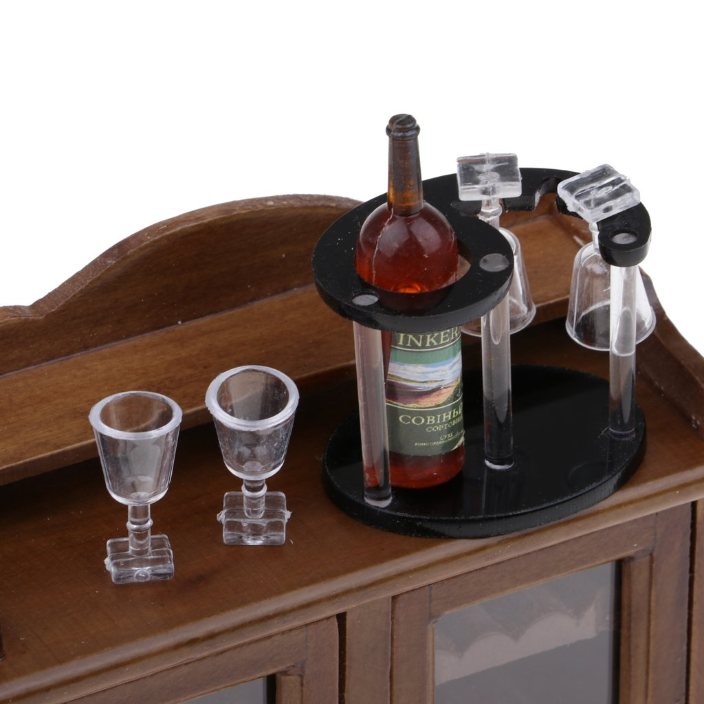 KESOTO Gabinete de Vino Miniatura Botellero y Botellas de Bebidas Set Decoraci/ón para 1//12 Casa de Mu/ñecas