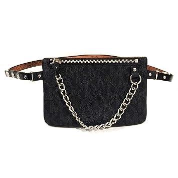 8786823baeba59 Amazon.com | Michael Kors MK Fanny Pack Belt With Pull Chain, Black/Grey,  Medium | Waist Packs
