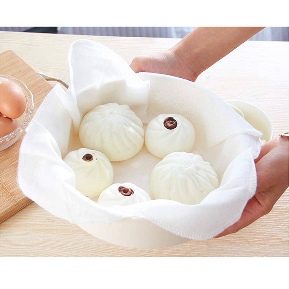 5 Pieces Cotton Steamer Liners 32 CM Breathable Steamer Mesh Mat Square Non Stick Pad Air Fryer Liner Steaming Dumplings/Bread/Buns/Rice Supply, Food Filter Cloth, 12.5 Inch, White