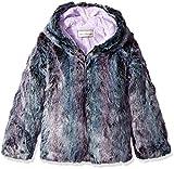 Widgeon Little Girls' Toddler Long Faux Fur Hooded Zip Front Jacket, Purple Mist, 4T