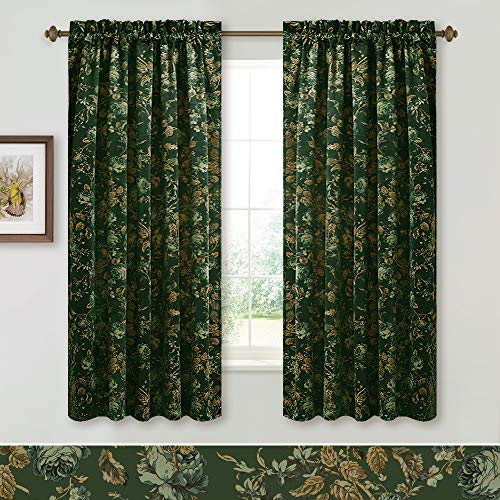 StangH Bedroom Decorative Velvet Drapes - Classical Floral Printed Blackout Velvet Curtains Heat Insulated Privacy Window Panels for Dining Room, Green, W52 x L63, 2 Panels (Tie-Backs Not Included) ()