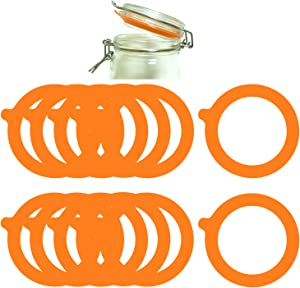 12Pcs Silicone Jar Gaskets Food Storege Jars Replacement Airtight Leak-proof Rubber Seals Rings Fits Regular Mouth Canning Jars (Orange 12pcs)