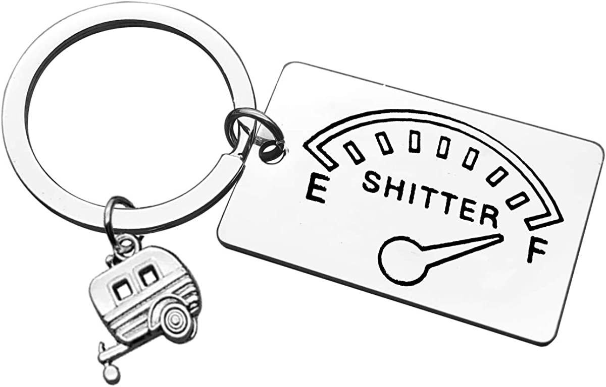 Camping Keychain Gift Shitter's Full Keyring Trailer Christmas Vacation Jewelry Gift Happy Camper RV Keychain Outdoor Adventure Traveller Gift for Women Motorhome Owner Gift Birthday Gift for Friends