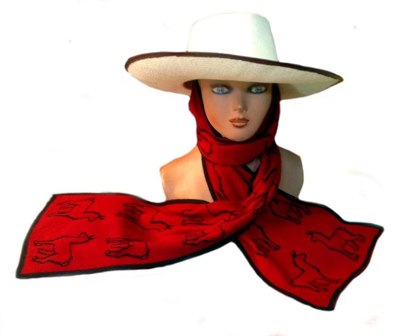 Alpakaandmore Set Marinera Panama Hat Peruvian Toquilla Palm Straw with Scarf (Small)