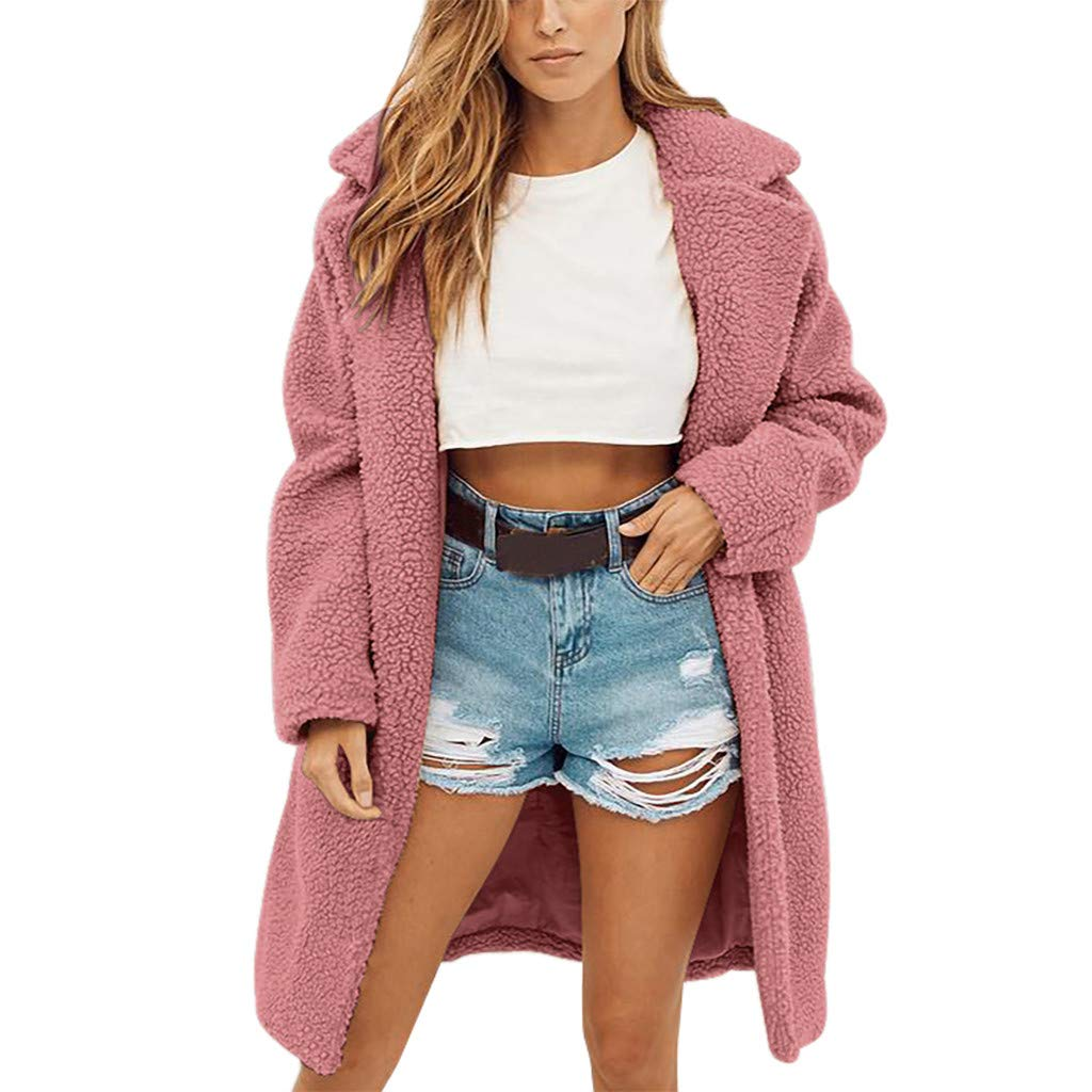 Redacel Women's Winter Fashion Long Sleeve Faux Fur Shearling Shaggy Oversized Coat Jacket with Pockets (XXXL,Pink)