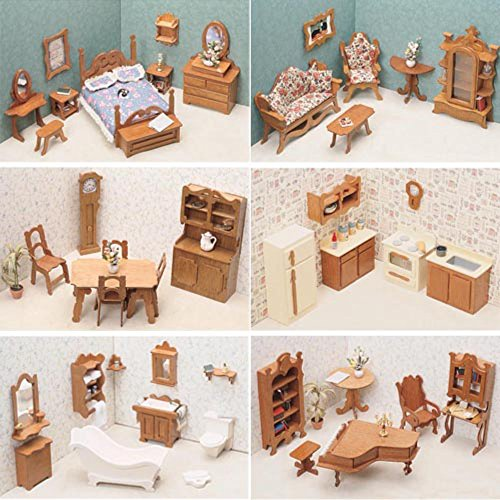 Greenleaf 6 Room Furniture Kit Set-1 Inch Scale by Greenleaf Billiards