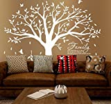 Family Tree Wall Decal Quote- Family Like Branches On A Tree Lettering Tree Wall Sticker for Bedroom Decoration (White-A)